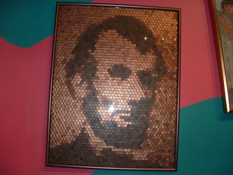Artwork made of Abraham Lincoln from Lincoln pennies.