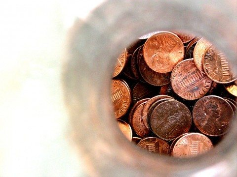 pennies in a jar