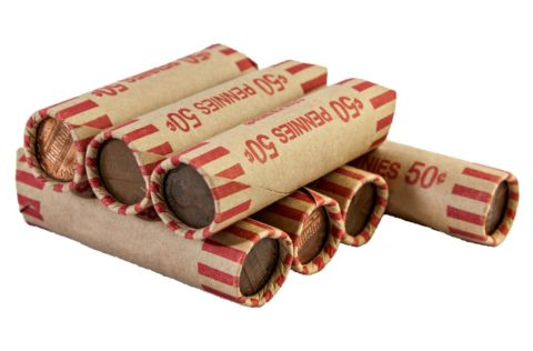 Penny coin rolls - bank rolls of pennies cost 50-cents apiece and contain 50 coins