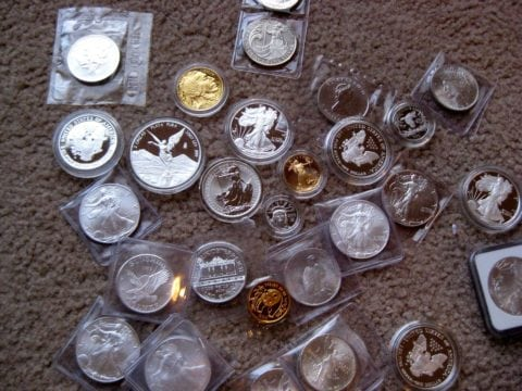 Proof coins mixed in with other valuable coins.