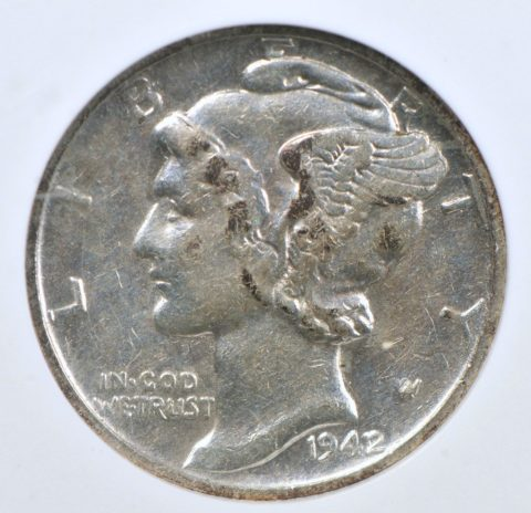This is a rare 1942/1 Mercury dime.