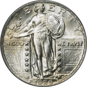 This is a Standing Liberty quarter. It is one of many rare quarters found in circulation today