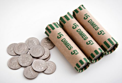 Dime coin rolls - bank rolls of dimes cost $5 apiece and contain 50 coins