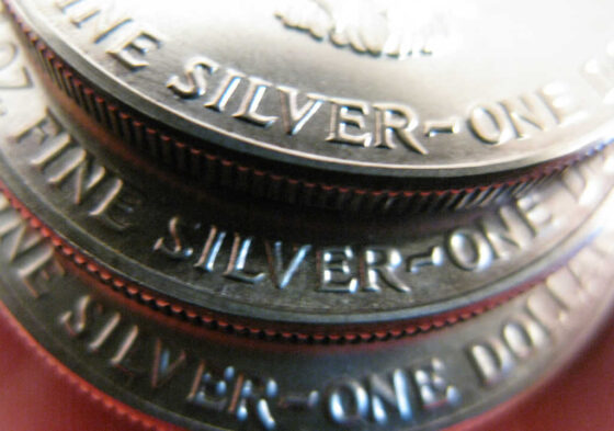 U.S. silver one dollar coins.
