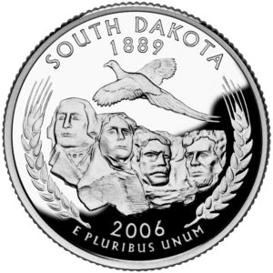 The 2006 South Dakota state quarter features George Washington in the Mount Rushmore rock formation.
