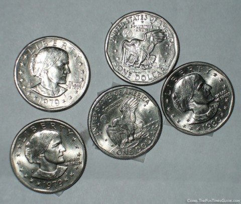 Some of the Susan B. Anthony coins I've found in pocket change.