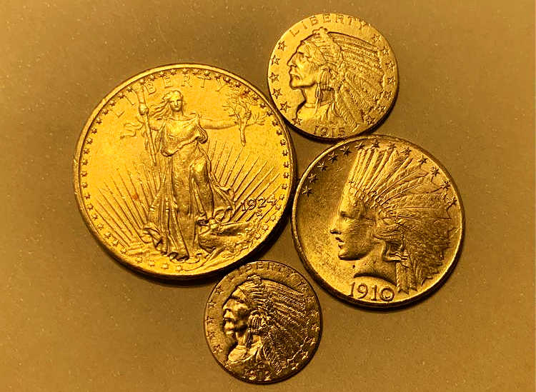 This gold coin set includes several popular pre-1933 U.S. gold coins, including the Indian Head $2.50, $5, and $10 and Saint-Gaudens $20.