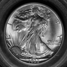 One of the most popular coins of all time is this Lady Liberty coin -- a Walking Liberty half dollar coin