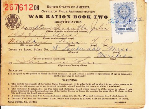 1944 Penny War Rations