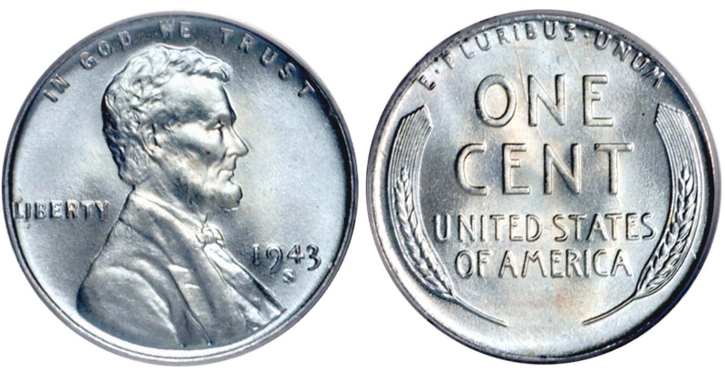 1943 steel pennies are very common, as hundreds of millions were struck.